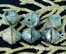Picasso Gray Black Czech Glass Cathedral Faceted Turbine Beads Twisted Stone Gla