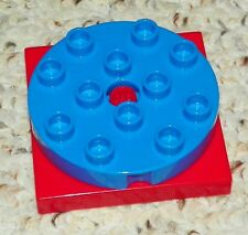 LEGO - Duplo Large Turntable 4 x 4 - Red Base w/ Blue Turntable