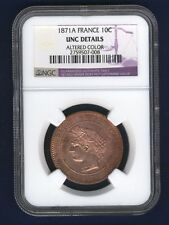 """FRANCE  1871-A  10 CENTIMES COIN, NGC CERTIFIED """"UNCIRCULATED DETAILS"""""""