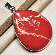 """Extremely Red Bloodstone Natural Jasper Gemstone 1.75"""" Silver Pendant #001"""
