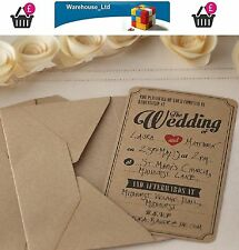 10 Matrimonio Inviti Con Buste-VINTAGE AFFARE Kraft stile di alta qualità
