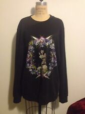 GIVENCHY Black Sweatshirt Naked Lady Sitting Flowers RUNWAY Sz M