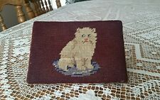 Antique Vintage Cat Kitten Needlepoint Wood Block Wedge Doorstop Footrest