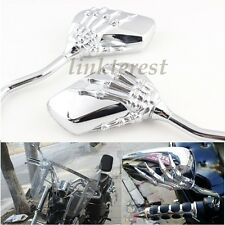 Motorcycle Rear Mirror/Chrome Motorcycle Skull Mirror 8mm &10mm Moto Motorbike