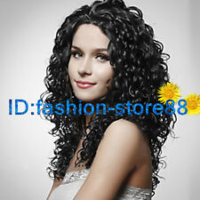 Ladies sexy Long Synthetic Curly Black Hair Wig women Wavy wigs + Free wig cap