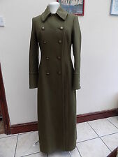 GORGEOUS HOBBS OLIVE GREEN MILITARY STYLE DOUBLE BREASTED LONG WOOL COAT SIZE 10