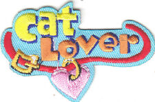 """""""CAT LOVER"""" PATCH - CATS - PETS - KITTENS -LOVE / Iron On Embroidered Applique"""