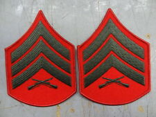 PAIR - MARINE CORPS SGT SLEEVE RANK - MALE - GREEN ON RED   #USP687