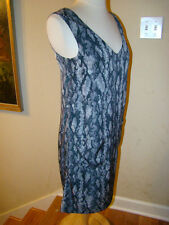 H & M SNAKESKIN FABRIC PRINT DARK GRAY WHITE STRAIGHT CUT POCKET DRESS SIZE 4