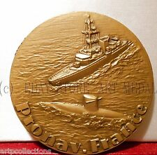 GRANDE MEDAILLE 81mm BRONZE NAVIRE MILITAIRE SOUS MARIN SHIPS SUBMARINE