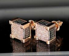 Rose/Black Tone Square Blocks 10mm Screw On 3D Bling Hip Hop Fashion Earrings