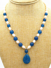 New white akoya Pearl & Apatite Pendant Necklace 18""