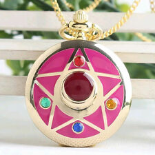Anime Sailor Moon Golden Moon Prism Sweater chain necklace pendant pocket watch'