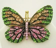 "Joan Rivers Multi Color Butterfly Pin with Crystals   2"" Pink/Green/Gold"