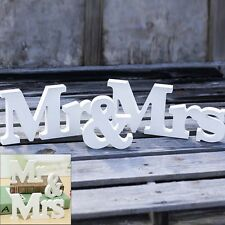 Mr & Mrs Letter White Wood  Wedding Gift Sign Photo booth Props Table Decoration