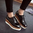 2015 Punk Womens Wedge Mid Heels Platform Lace up Brogue Oxford Shoes US4.5-8