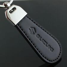 2016 Fashion Black Leather Metal Alloy Car Logo KeyChain Key Ring for SUZUKI