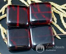 Large Dark Red Clear Czech Glass Flat Square Beads Tile 18mm 4pcs