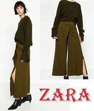 ZARA Crossover Khaki Trousers Wide Leg New Cropped Pants (RT$69.90) Size M+