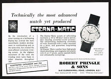 1950's Vintage 1957 Robert Pringle - Eternamatic Eterna Matic Watch Print AD