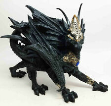 Black Ancient Masked Dragon with Blue Pendant Battle Ready Statue Figurine