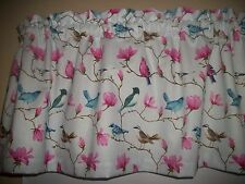 Birds Pink Dogwood fabric window topper curtain Valance