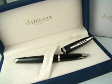 NEW Waterman Fountain Pen Carene - Medium Nib - Black Lacquer w/Palladium Trim