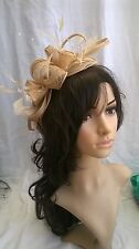 Pale Gold Feather Fascinator.rosette on a headband..crystals wedding races.new