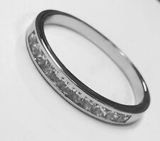 Sterling Silver Princess Cut Cubic Zirconia Channel Set Eternity Ring  K