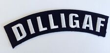 DILLIGAF ~ Rude Funny Quality Embroided Iron On Patch Badge ** AUSSIE SELLER