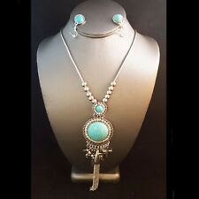 NEW * Silver Brighton Bay Victorian Glam Turquoise Bead Long Necklace w/ Earring