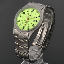 Luminous Face Glow Dial SOKI Mens Analog Date Quartz Stainless Steel Band Watch