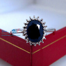 Genuine natural diamonds sapphire sterling silver engagement wedding ring