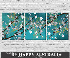 CHERRY BLOSSOM SET OF 3 PRINTS ON STRETCHED CANVAS ea 25x30x2cm PICK YOUR COLOR