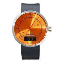 666Barcelona Under Pressure II Orange Quartz Steel Digital Leather Men's Watch