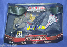 BATTLESTAR GALACTICA Comic Con Titanium Set Colonial Viper Mark II Raptor New