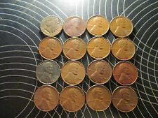 Lincoln Cent Wheat Pennies  Lot of 15 & 1 INDIAN HEAD CENT 1898 CIRCULATED