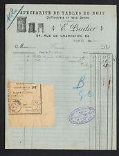 """PARIS (XII°) MEUBLES / TABLES de NUIT & CHIFFONNIERS """"E. PRADIER"""" en 1912"""