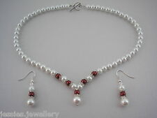 2dr Coloured Pearl & Diamante Necklace & Earrings Jewellery Set