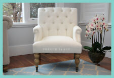 IN STOCK! NEW French Provincial Hamptons Style White Linen Buttoned Armchair
