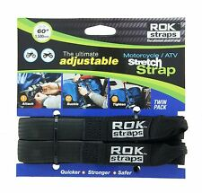 "ROK STRAPS Motorcycle Adjustable Luggage Bungee Straps - 18""- 60"" Twin Pack"