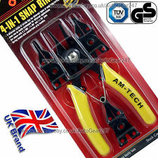 Am-Tech 4 in 1 Interchangeable Snap Ring Internal & External Circlip Plier Set