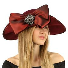 Winter Edwardian Flip Wool Felt Big Bow Floppy Wide Brim Derby Church Hat Wine