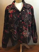 Indigo Moon Women's Brown Velvet Embroidered Sequins Jacket Size Large