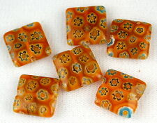 Topaz Flat Square Flower Millefiori Lampwork Glass Beads Jewelry Making Craft
