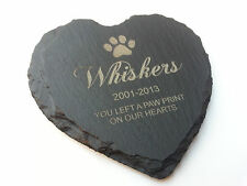 Personalised Engraved Heart Shape Natural Slate Pet Memorial Grave Marker Plaque