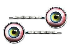 Spooky Human Eyeball Silver Plated Glass Hair Clip Horror Halloween Barrette Set