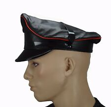 Leather Muir Cap with trim,Gay Leather Army Cap,Biker Cap,Peaked Cap,Police Hat