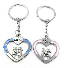 Boy and Girl Love Heart Couples Metal Keychain Key Ring Key Chain