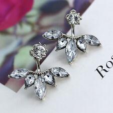 Women Classy Flower Statement Crystal Leaf Stud Earring Ear Jacket Double Sided